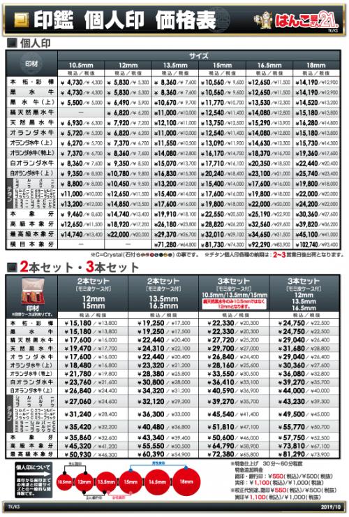 印鑑価格表